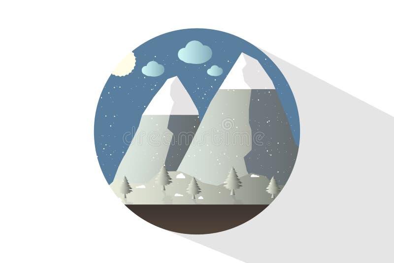 Φύση εικονιδίων το μεσημέρι Υπαίθρια έννοια σχεδίου Όμορφο τοπίο απεικόνιση αποθεμάτων