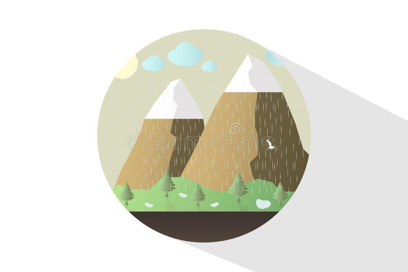 Φύση εικονιδίων το μεσημέρι Υπαίθρια έννοια σχεδίου Όμορφο τοπίο ελεύθερη απεικόνιση δικαιώματος