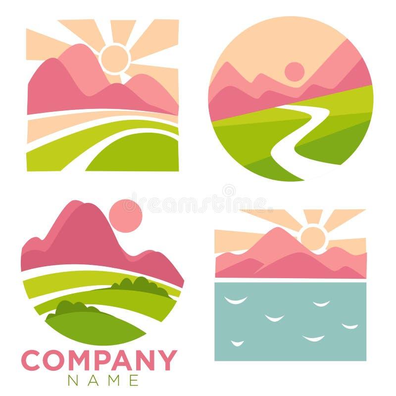 Φύση επιχείρησης, και υψηλά βουνά τοπίων καθορισμένα διανυσματικά απεικόνιση αποθεμάτων