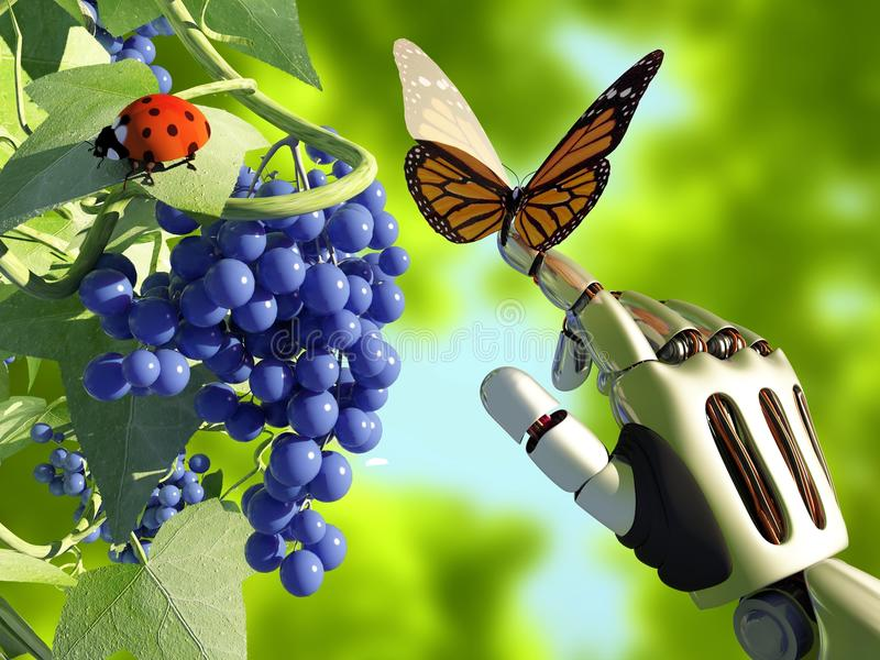 Φύση και ρομπότ απεικόνιση αποθεμάτων