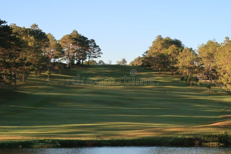 Φύση με τα μαγικά sunrays, την ηλιοφάνεια, την ελαφριά και πράσινη χλόη, λιβάδι Χρήση φωτογραφιών στο σχέδιο ιδέας για το γκολφ,  στοκ φωτογραφία