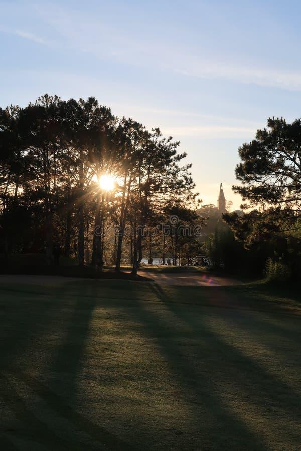 Φύση με τα μαγικά sunrays, την ηλιοφάνεια, την ελαφριά και πράσινη χλόη, λιβάδι Χρήση φωτογραφιών στο σχέδιο ιδέας για το γκολφ,  στοκ εικόνες
