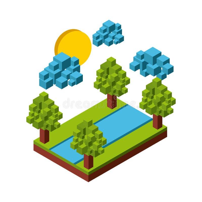 Φύση στο σχέδιο εικονοκυττάρων απεικόνιση αποθεμάτων
