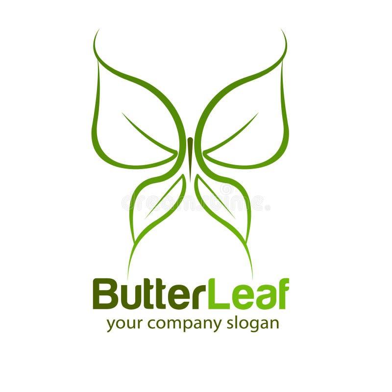 Φύση σχεδίου λογότυπων πεταλούδων και φύλλων διανυσματική απεικόνιση