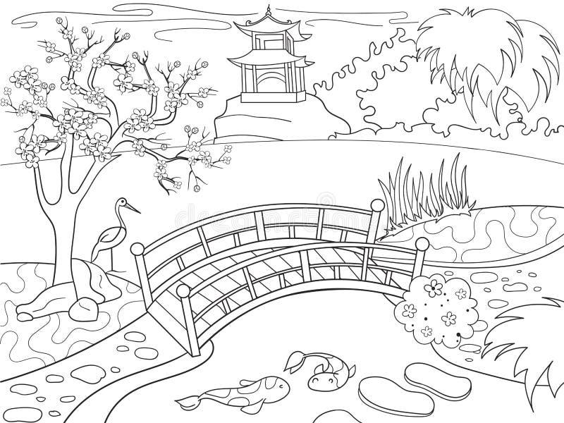 Φύση του χρωματίζοντας βιβλίου της Ιαπωνίας για τα κινούμενα σχέδια παιδιών Ιαπωνική διανυσματική απεικόνιση κήπων διανυσματική απεικόνιση