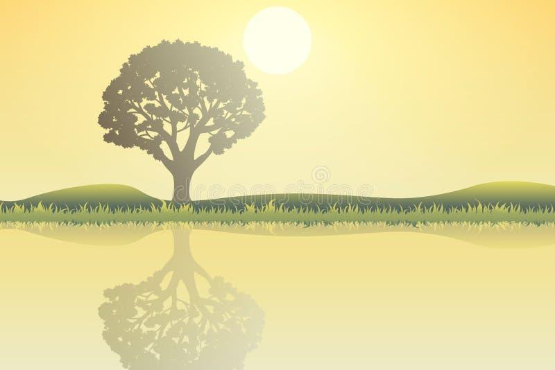 Φύση το μεσημέρι Υπαίθρια έννοια σχεδίου Όμορφο τοπίο αμοιβή διανυσματική απεικόνιση