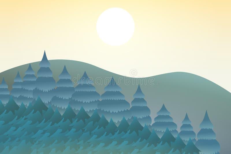 Φύση το μεσημέρι Υπαίθρια έννοια σχεδίου Όμορφο τοπίο αμοιβή απεικόνιση αποθεμάτων