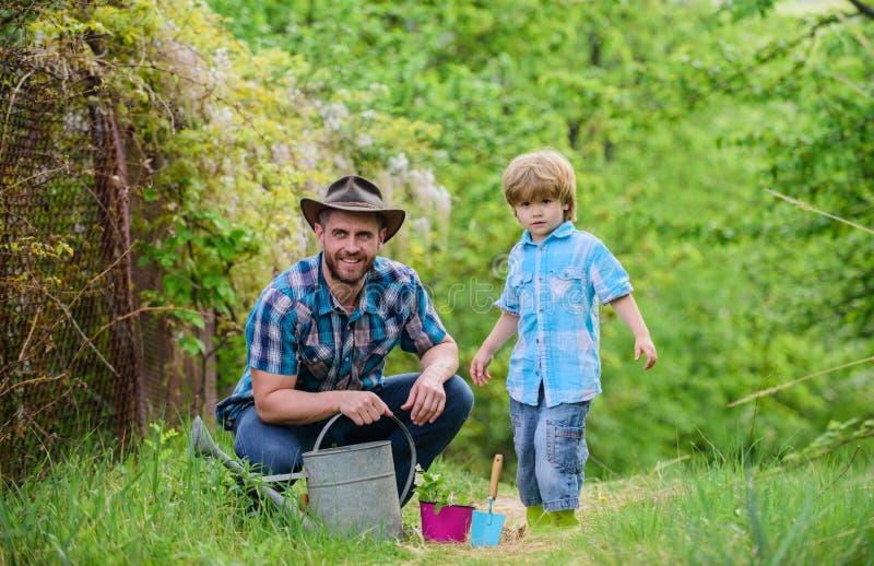 Φύτευση των λουλουδιών Αυξανόμενες εγκαταστάσεις Φροντίστε τις εγκαταστάσεις Το αγόρι και ο πατέρας στη φύση με το πότισμα μπορού στοκ φωτογραφία