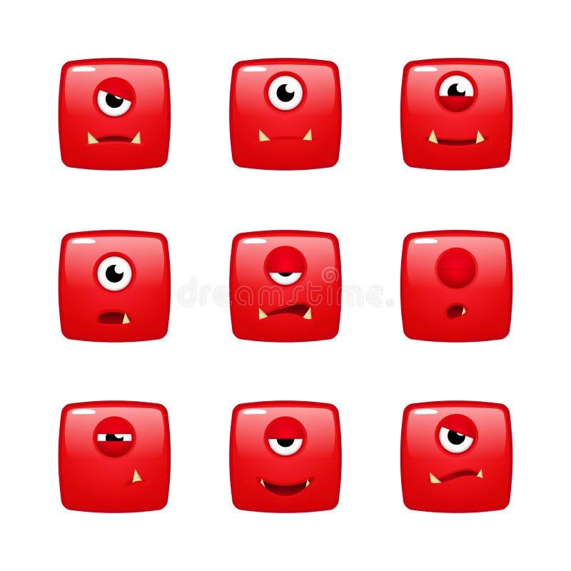 Φύλλα δαιμονίου συγκινήσεων του κόκκινου τέρατος τετραγώνων ελεύθερη απεικόνιση δικαιώματος