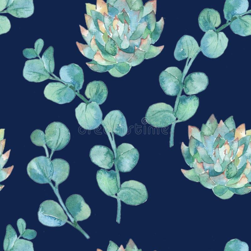 Φύλλα ευκαλύπτων Watercolor και succulent ελεύθερη απεικόνιση δικαιώματος