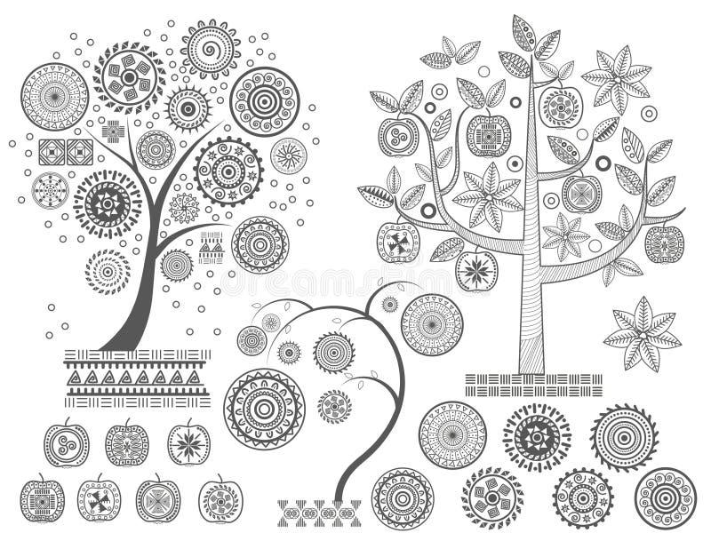 Φύλλα διακοσμήσεων treesThe και διακοσμητικοί κύκλοι στη διανυσματική απεικόνιση δέντρων Των Μάγια αρχαίοι πολιτισμοί Αζτέκων απεικόνιση αποθεμάτων
