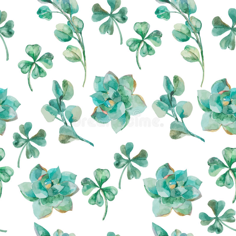 Φύλλα και κλάδοι ευκαλύπτων Watercolor, succulent, τριφύλλι τριφύλλι διανυσματική απεικόνιση
