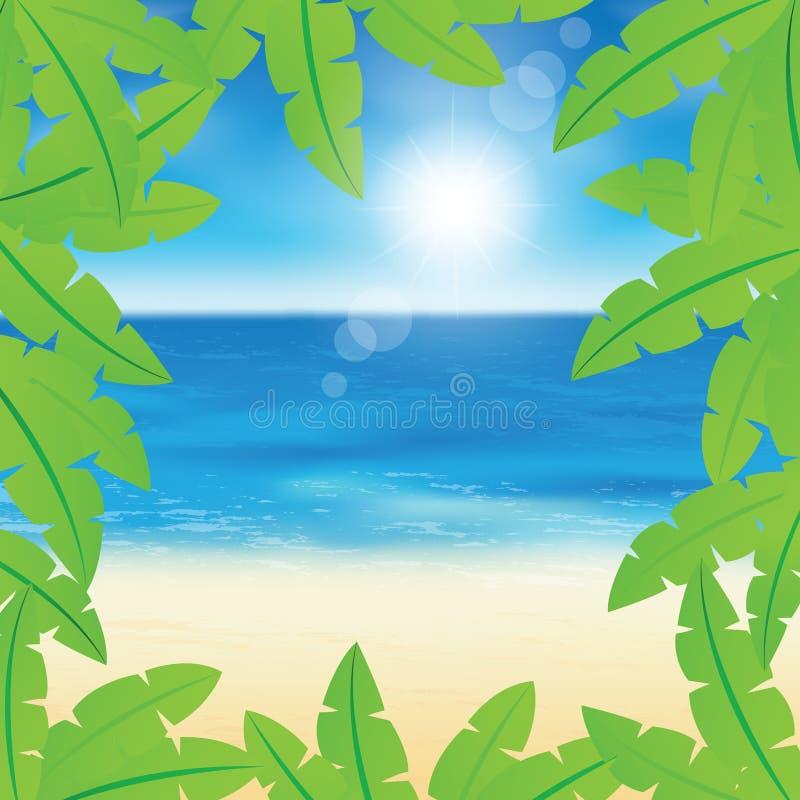 Φύλλα και παραλία φοινικών ελεύθερη απεικόνιση δικαιώματος