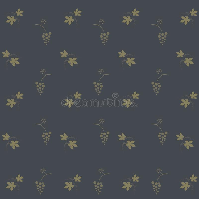 Φύλλα σταφυλιών και δέσμες των σταφυλιών σε ένα σκούρο μπλε υπόβαθρο, χακί απεικόνιση αποθεμάτων