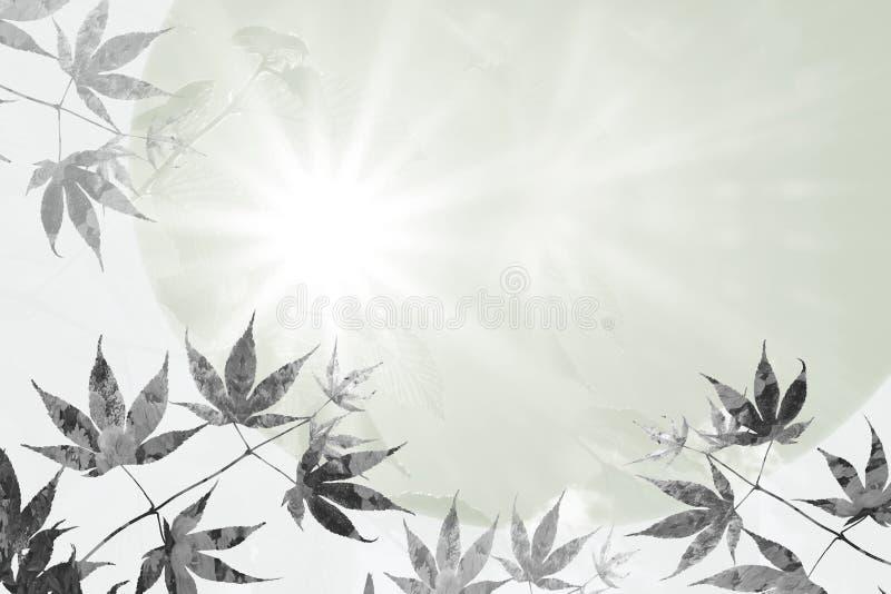 Φύλλα σφενδάμου και ακτίδες ελπίδας, σχέδιο υποβάθρου συμπόνοιας στοκ εικόνα