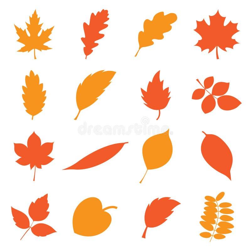φύλλα φθινοπώρου που τίθενται διανυσματική απεικόνιση