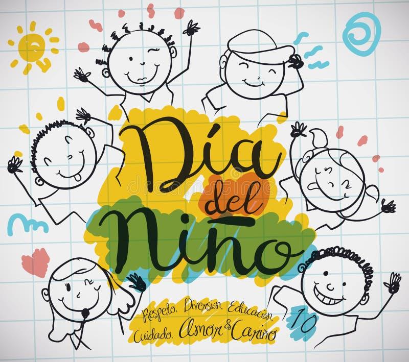 Φύλλο εγγράφου με τα παιδιά που σύρουν για την ισπανική ημέρα παιδιών ` s, διανυσματική απεικόνιση διανυσματική απεικόνιση