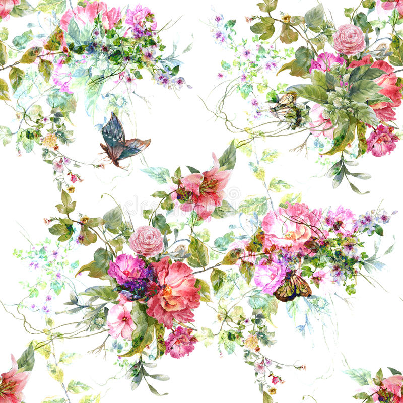 Φύλλο ζωγραφικής Watercolor και λουλούδια, άνευ ραφής σχέδιο στο άσπρο backgroun απεικόνιση αποθεμάτων
