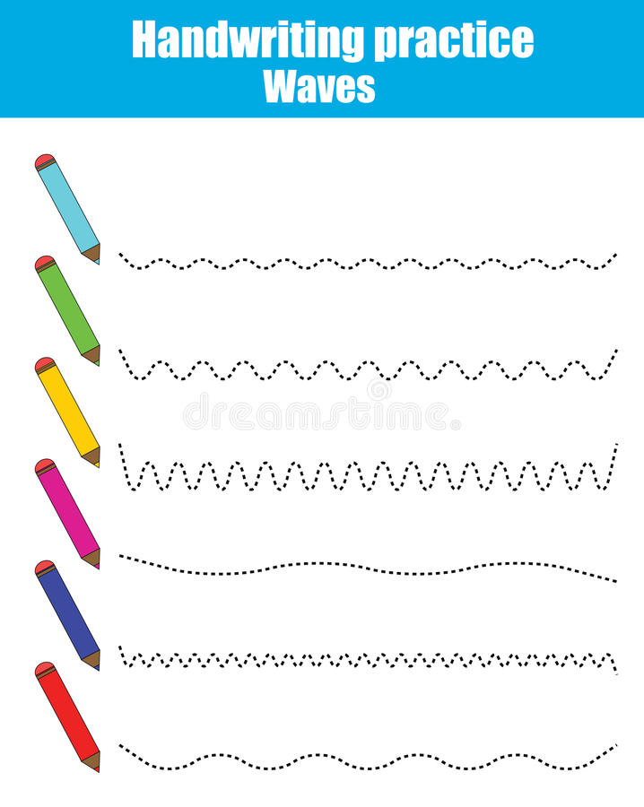 Φύλλο πρακτικής γραφής Εκπαιδευτικό παιχνίδι παιδιών Εκτυπώσιμο φύλλο εργασίας, που τραβά τα ρεύματα διανυσματική απεικόνιση