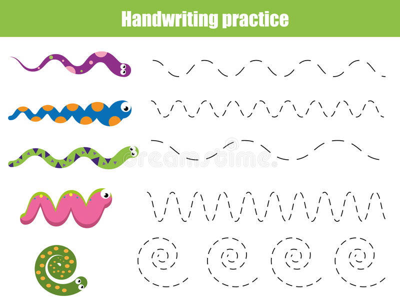 Φύλλο πρακτικής γραφής Εκπαιδευτικό παιχνίδι παιδιών, εκτυπώσιμο φύλλο εργασίας για τα παιδιά με τις κυματιστές γραμμές και τα φί ελεύθερη απεικόνιση δικαιώματος
