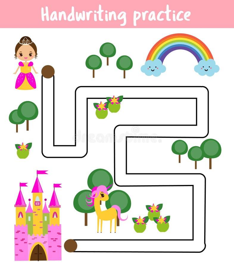 Φύλλο πρακτικής γραφής Εκπαιδευτικό παιχνίδι παιδιών, εκτυπώσιμο φύλλο εργασίας για τα παιδιά Η πριγκήπισσα βοήθειας βρίσκει το δ ελεύθερη απεικόνιση δικαιώματος