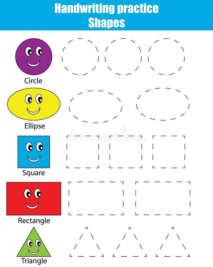 Φύλλο πρακτικής γραφής Εκπαιδευτικό παιχνίδι παιδιών, δραστηριότητα παιδιών μορφές εκμάθησης διανυσματική απεικόνιση