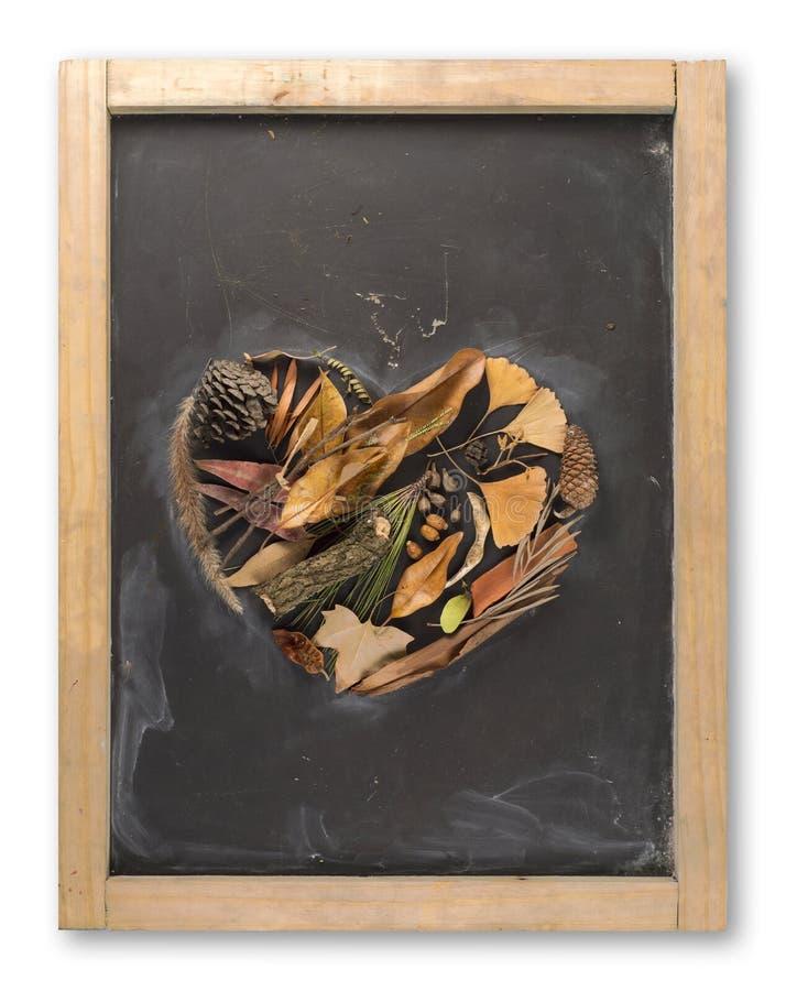 Φύλλο φθινοπώρου πινάκων καρδιών έννοιας αγάπης πτώσης στοκ εικόνες με δικαίωμα ελεύθερης χρήσης