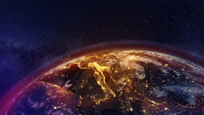 Φώτα πόλης Ιταλίας, Στοιχεία της εικόνας αυτής παρέχονται από τη NASA ελεύθερη απεικόνιση δικαιώματος