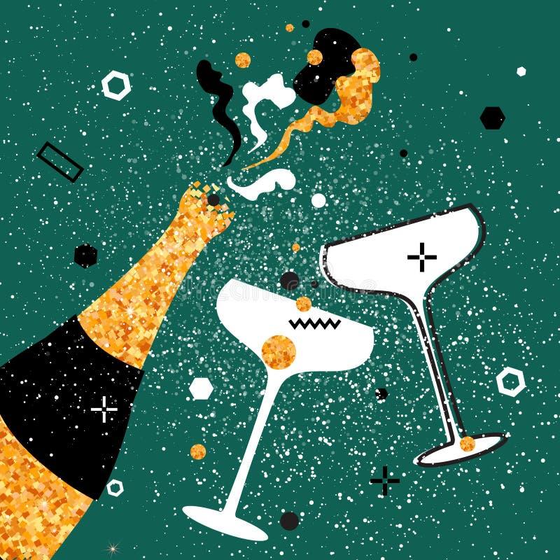 Φλάουτα και μπουκάλι CHAMPAGNE Εύθυμες διακοπές οινοπνευματώδη ποτά Εορτασμός κόμματος απεικόνιση αποθεμάτων