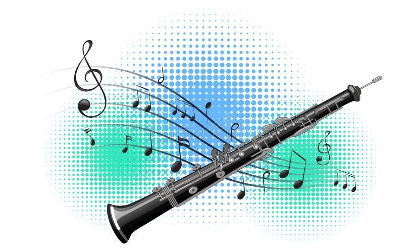 Φλάουτο με τις σημειώσεις μουσικής στο υπόβαθρο διανυσματική απεικόνιση