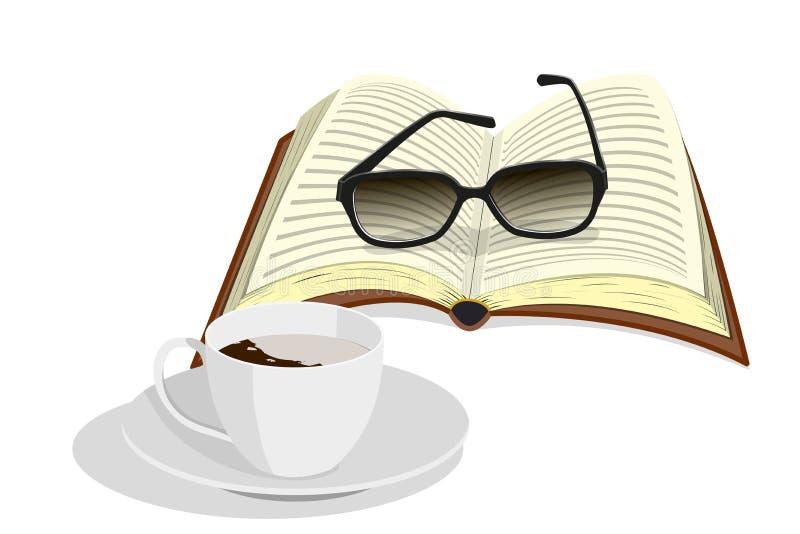 Φλιτζάνι του καφέ, γυαλιά και βιβλίο απεικόνιση αποθεμάτων