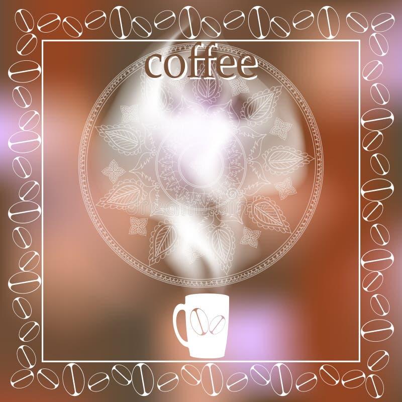 Φλιτζάνι του καφέ με τον ατμό σε ένα θολωμένο υπόβαθρο menu Διάστημα για το κείμενο απεικόνιση αποθεμάτων