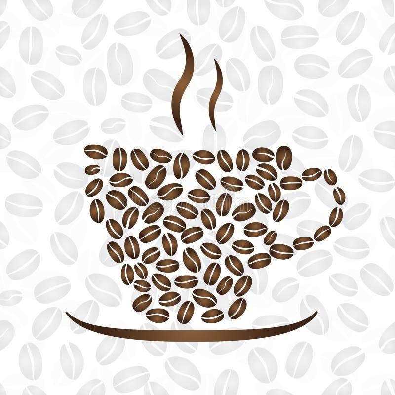 Φλιτζάνι του καφέ, που αποτελείται από τα φασόλια καφέ ελεύθερη απεικόνιση δικαιώματος