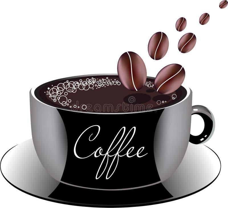 Φλιτζάνι του καφέ σε ένα πιατάκι, διανυσματική απεικόνιση απεικόνιση αποθεμάτων
