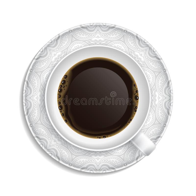 Φλιτζάνι του καφέ στο πιατάκι ελεύθερη απεικόνιση δικαιώματος