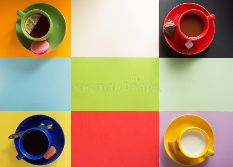 Φλιτζάνι του καφέ, τσάι και κακάο στοκ φωτογραφίες με δικαίωμα ελεύθερης χρήσης