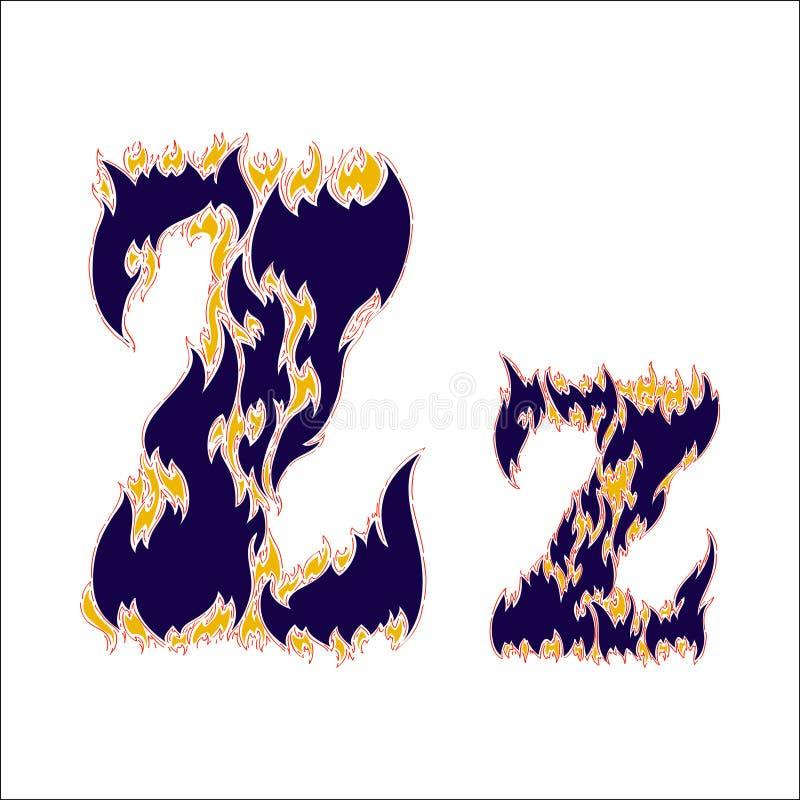 Φλογερό μπλε γράμμα Ζ πηγών σε ένα άσπρο υπόβαθρο απεικόνιση αποθεμάτων