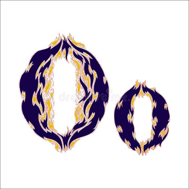 Φλογερό μπλε γράμμα Ο πηγών σε ένα άσπρο υπόβαθρο διανυσματική απεικόνιση
