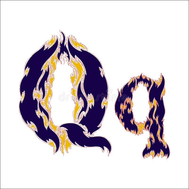 Φλογερό μπλε γράμμα Q πηγών σε ένα άσπρο υπόβαθρο διανυσματική απεικόνιση