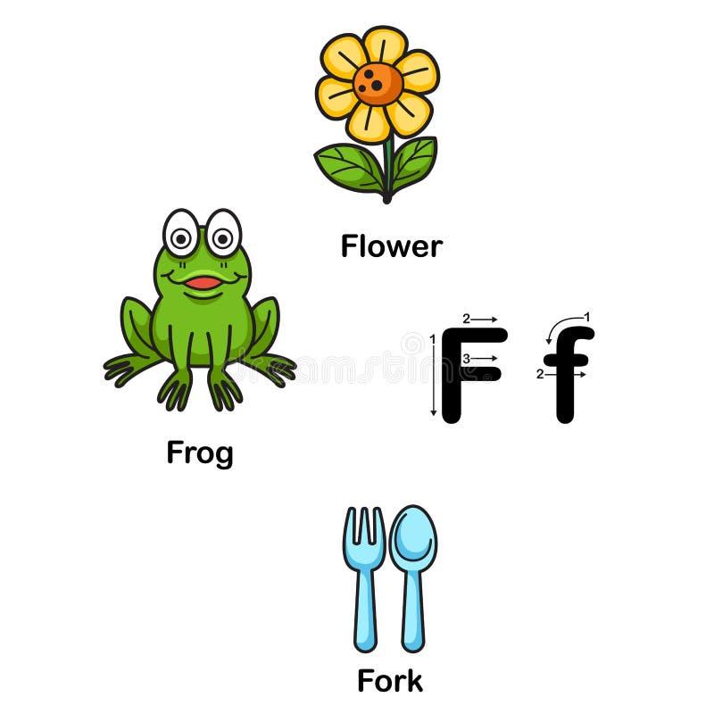 Φ-λουλούδι επιστολών αλφάβητου, βάτραχος, διανυσματική απεικόνιση δικράνων ελεύθερη απεικόνιση δικαιώματος