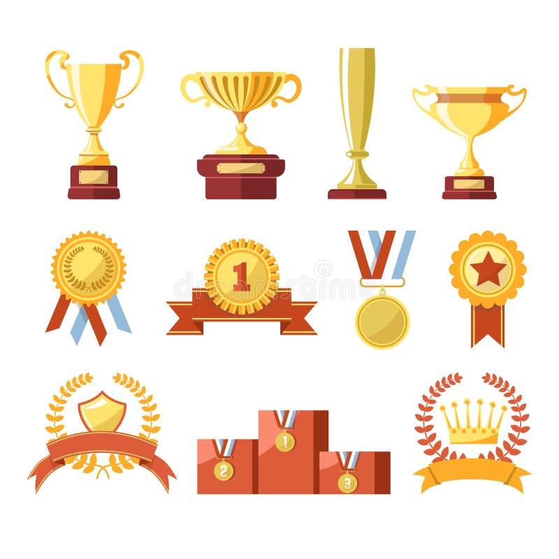 Φλυτζάνια βραβείων, μετάλλια νικητών ή απομονωμένα διάνυσμα εικονίδια κορδελλών πρωτοπόρων καθορισμένα απεικόνιση αποθεμάτων