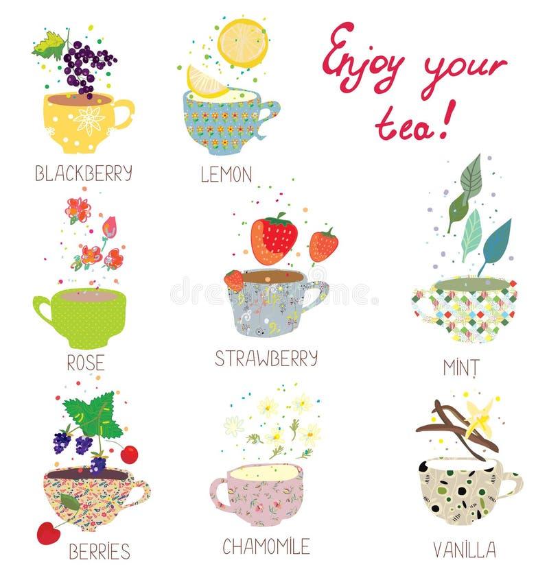 Φλυτζάνια με το τσάι καθορισμένο - μούρα, λεμόνι, μέντα, βανίλια απεικόνιση αποθεμάτων