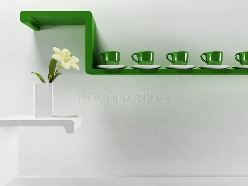 Φλυτζάνια στο πράσινο ράφι απεικόνιση αποθεμάτων