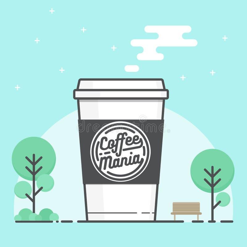 Φλυτζάνι εγγράφου καφέ με το λογότυπο ο καφές πηγαίνει απεικόνιση αποθεμάτων