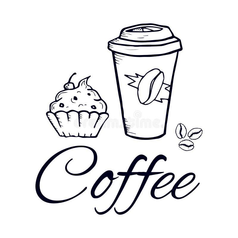 Φλυτζάνι και γλυκά εγγράφου καφέ στο γραφικό ύφος απομονωμένη διάνυσμα εικόνα σκίτσο στοκ φωτογραφία με δικαίωμα ελεύθερης χρήσης