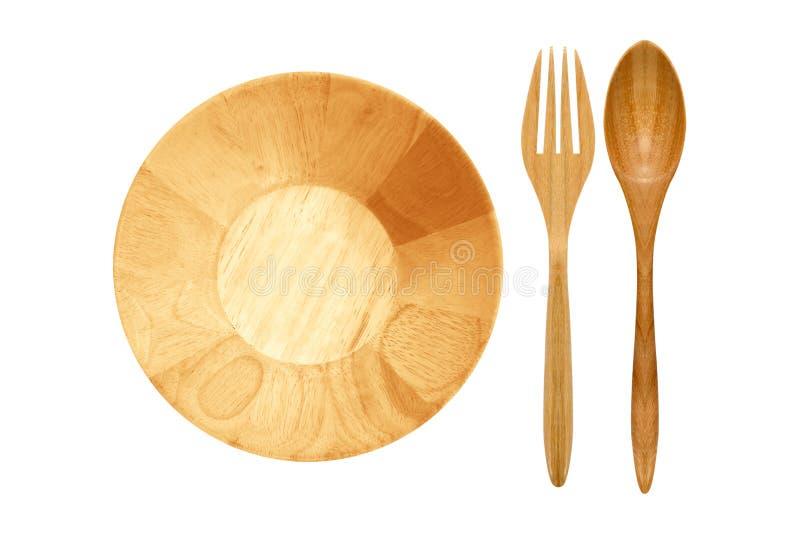 Φλυτζάνι και κουτάλι-δίκρανο φιαγμένα από ξύλο στοκ εικόνες