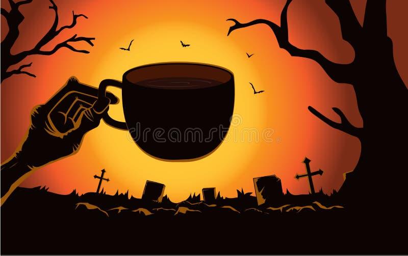 Φλυτζάνι καφέ εκμετάλλευσης χεριών Zombie στο νεκροταφείο διανυσματική απεικόνιση