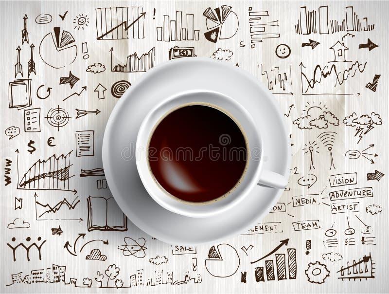Φλυτζάνι καφέ με χρωματισμένος doodles διανυσματική απεικόνιση