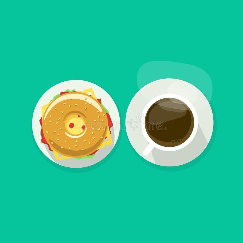Φλυτζάνι καφέ με doughnut τη διανυσματική απεικόνιση τοπ άποψης σάντουιτς απεικόνιση αποθεμάτων