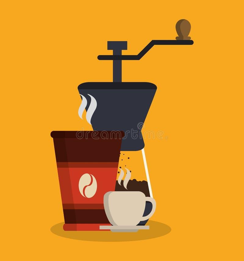 Φλυτζάνι κουπών και greinder του σχεδίου καφετεριών ελεύθερη απεικόνιση δικαιώματος